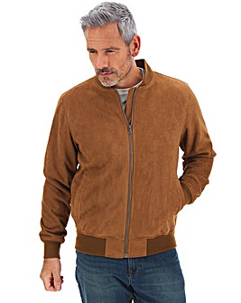 Tan Mock Suede Bomber Jacket Long