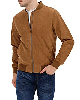 Tan Mock Suede Bomber Jacket