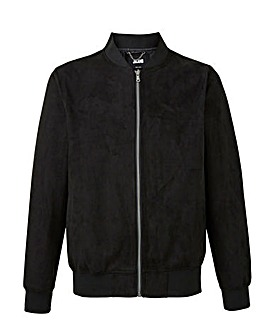 Black Mock Suede Bomber Jacket