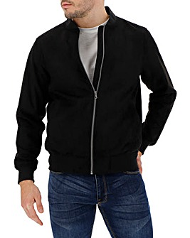 Black Mock Suede Bomber Jacket Long