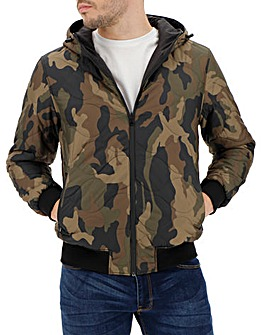 Camo Reversible Hooded Quilt Jacket Long
