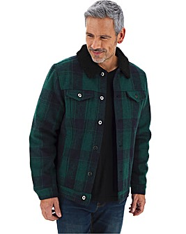 Borg Collar Trucker Check Jacket