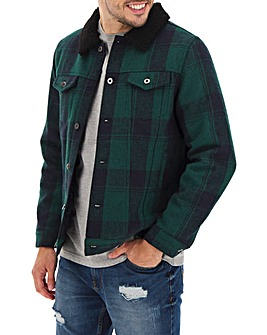 Borg Collar Trucker Check Jacket