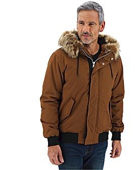 Fur Trim Hooded Bomber Jacket Long