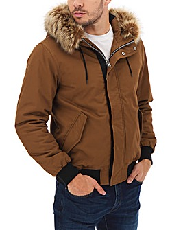 Fur Trim Hooded Bomber Jacket