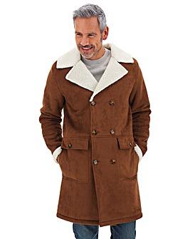 Brown Longline Mock Sheepskin Overcoat