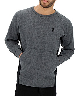 Grey Marl Tech Crew Neck Sweatshirt Long