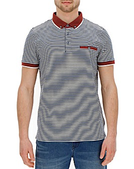 Trim Detail Navy Stripe Polo R
