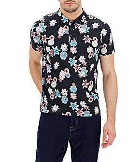 Floral Digital Print Polo Long