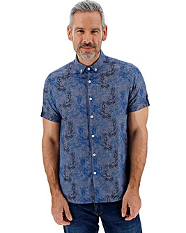 Printed Textured Short Sleeve Shirt Regular