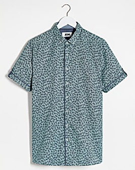 Green Ditsy Printed Shirt Sleeve Shirt Long
