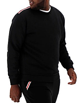 Black Taped Detail Crew Neck Sweat Regular