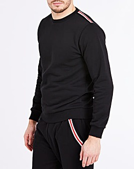 Black Taped Detail Crew Neck Sweat L