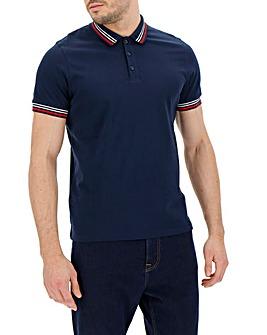 Navy Collar Detail Plain Polo R