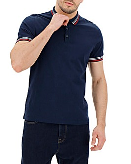 Navy Collar Detail Plain Polo L