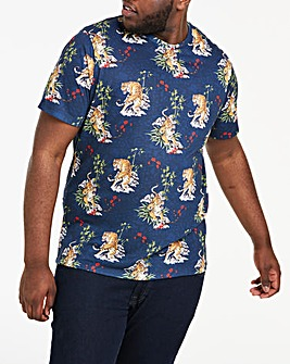 Navy Tiger Print T-Shirt R