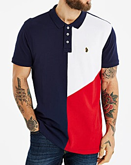 Luke Dark Navy Coeluke Abstract Panel Polo Long