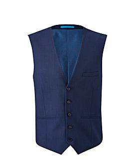 Burton London Blue Grid Waistcoat Reg