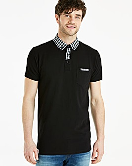 Lambretta Gingham Trim Polo Long
