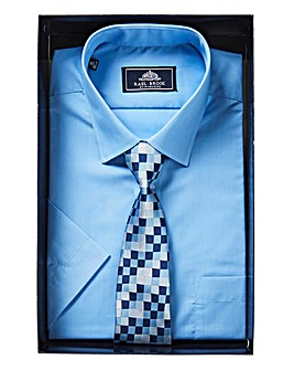 Rael Brook Pale Blue Boxed Short Sleeve Shirt And Tie Set Regular