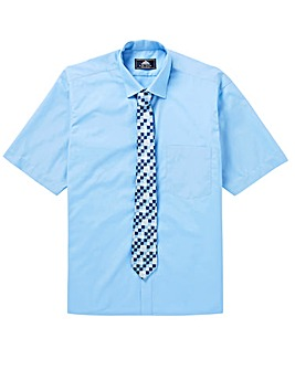 Rael Brook Blue Short Sleeve Shirt & Tie
