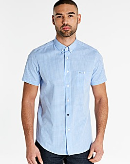 Weekend Offender Blue Short Sleeve Gingham Shirt Regular