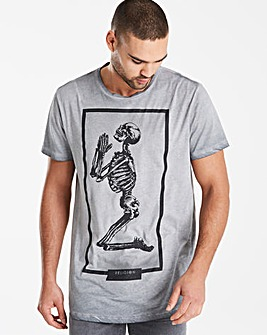 Religion Brand Skeleton Curved Hem T-Shirt Long