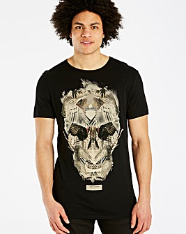 Religion Black Wings Skull T-Shirt Long