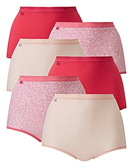 Sloggi 6Pack Maxi Briefs, Pink Multi