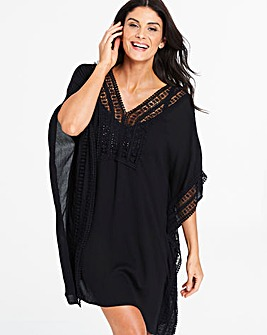 Together Crochet Trim Crinkle Kaftan