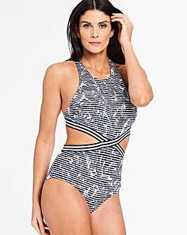 Sunseeker Black Marble Print High Neck Cut Out Swimsuit