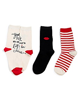 LuLu Guinness 3 Pack Red Lips Socks