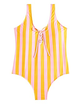 Violeta by Mango Cuca Tie Front Stripe Swimsuit
