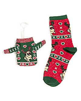 Wildfeet Christmas Jumper Gift Bag Socks