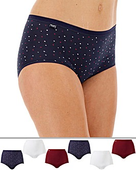Sloggi 6Pack Maxi Briefs, Blue Combi