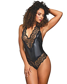 Dreamgirl Faux Leather Halter Bodysuit