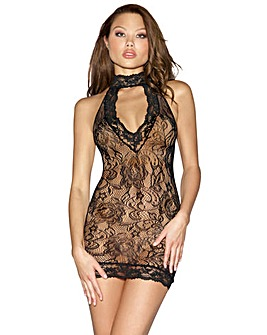 Dreamgirl Stretch Lace Collared Chemise