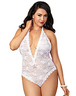 Dreamgirl Stretch Lace Halter Teddy