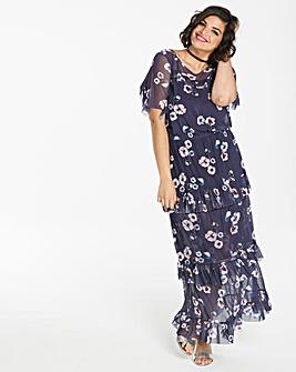 Purple Print Mesh Frill Maxi Dress and Cami