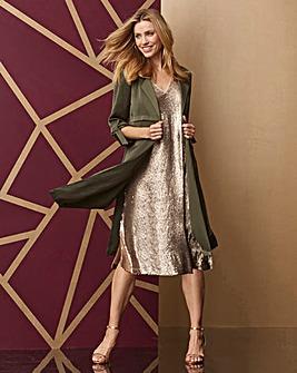 Champagne Sequin Vest Shift Dress