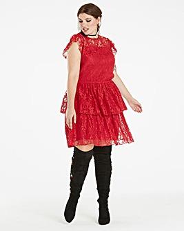 Red Lace Layered Dress