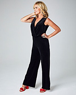 Black Glitter Wrap Jumpsuit