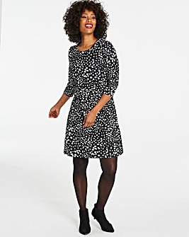 Spot Print Long Sleeved Swing Dress