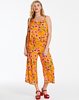 Yellow Floral Layered Cullotte Jumpsuit