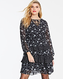 Black Floral Print Ruffle Teired Dress