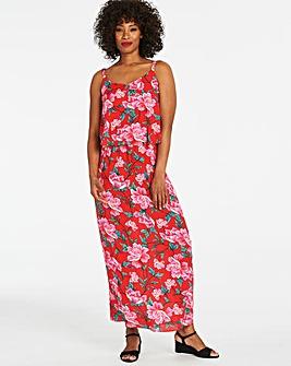 96d9cee3e7f Pink Floral Layered Maxi Dress
