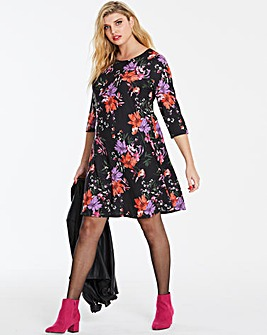 Black Floral Long Sleeved Swing Dress