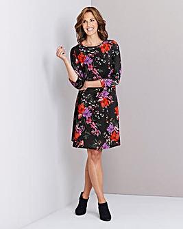 Black Floral Long Sleeved Swing Dress