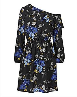 Blue Floral Cold Shoulder Print Dress