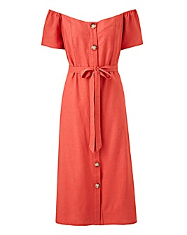 Linen Bardot Midi Dress